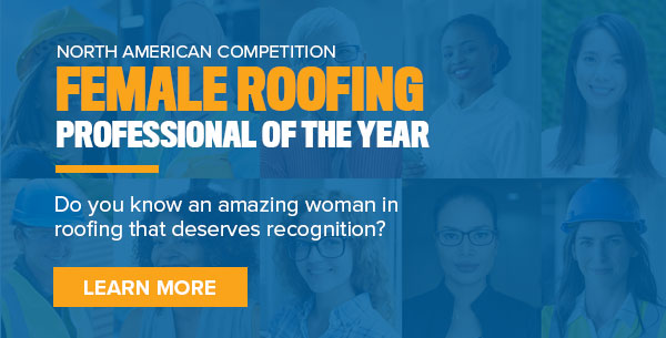 female roofing professional email banner